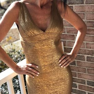 Gold sexy bodycon slimming dress size small